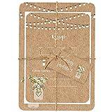 Einladungs- und Antwortkarten für einen Hochzeitsempfang am Abend, rustikales Design: Einmachglas mit Blumen, Aufschrift in englischer Sprache, 10Stück