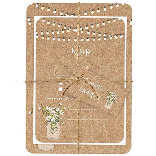 Rustic Mason bocal fleurs – invitations et RSVP – Lot de 10