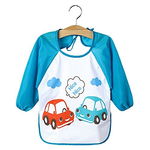 tbs-grande-bebe-de-los-ninos-impermeable-de-manga-larga-babero-x-2-unidades-azul-blue-car