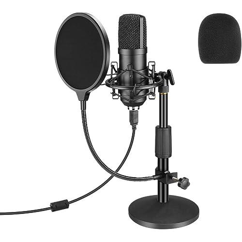 Microfono USB, set di microfoni professionali per podcast Microfono a condensatore da studio 192KHZ / 24Bit con supporto per scheda audio, filtro anti-pop antiurto per Skype, radio, giochi, YouTube