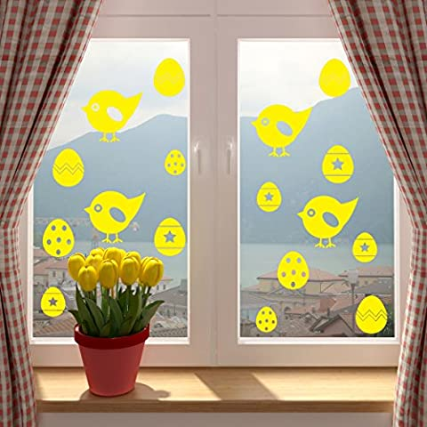 Easter Chicks And Easter Eggs Window Or Wall Sticker. YELLOW. SINGLE USE. Self Adhesive Vinyl Decorations For Home, Shop or