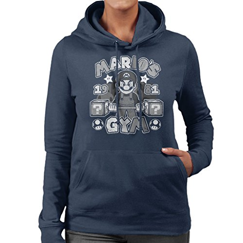 Super Marios Gym Women's Hooded Sweatshirt Navy blue