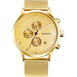 SONGDU Unisex Classic Chronograph Watch Gold Tone Big Face with Date Calendar and Milanese Mesh Strap