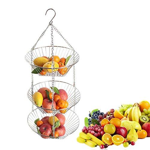 Luerme Edelstahl-3-Tier-Draht-Hängekorb-Obst-Gemüsekorb für Küchenlagerung -