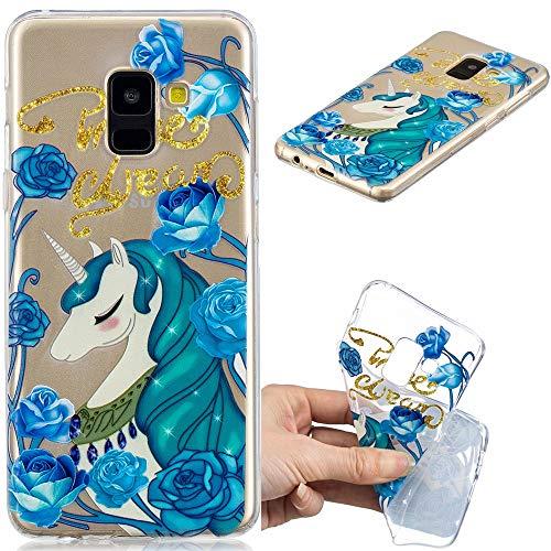 Ooboom Hülle für Samsung Galaxy J6 2018, Transparent Prägen TPU Silikon Case Cover Ultra Dünn Slim Durchsichtig Schutzhülle Handy Tasche Bumper - Blau Pferd Blume