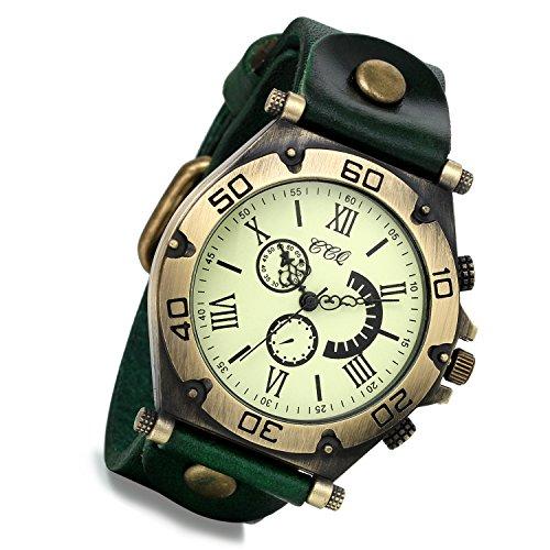 Lancardo orologio da polso con cinturino in pelle verde con quadrante numeri romani per uomo donna, movimento di quarzo, retro, classico