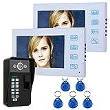 Z-SGYX Sistema citofono Campanello videocitofonico, Sistema di citofonia con Telecamera da 7 Pollici a 2 Monitor per casa monofamigliare, Pulsante a sfioramento, Visione Notturna