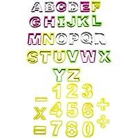KurtzyTM Set da 40 Pezzi Stampini in Plastica per Biscotti a Forma di Lettere Alfabeto e Numeri - Multicolore