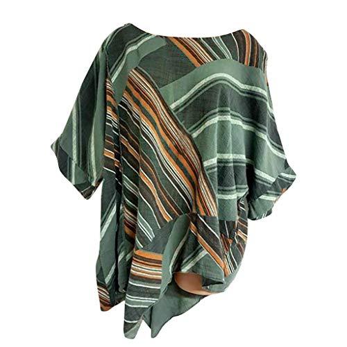 QIMANZI Übergröße T-Shirts Damen Kurzarm TopsDrucken Baumwolle und Baumwolle und Leinen Blusen(X Grün,4XL) -