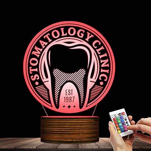 Zahnarzt Zahnpflege Logo LED Licht Lampe Benutzerdefinierte Gesundheitswesen Stomatologie Zahn Zeichen Personalisierte Dental Hygieniker 3D Decor ()