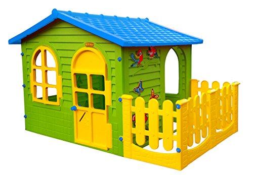 Spielhaus Kinderspielhaus mit Terrasse XXL für drinnen und Draußen Gartenhaus Kinderhaus Blau Kinder Spiel Haus Gartenhaus