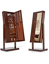 IKAYAA JC01B - Joyero con Espejo de Terciopelo Interior - Armario de Pie Giratorio oara Joyas (149cm,Doble Puerto)