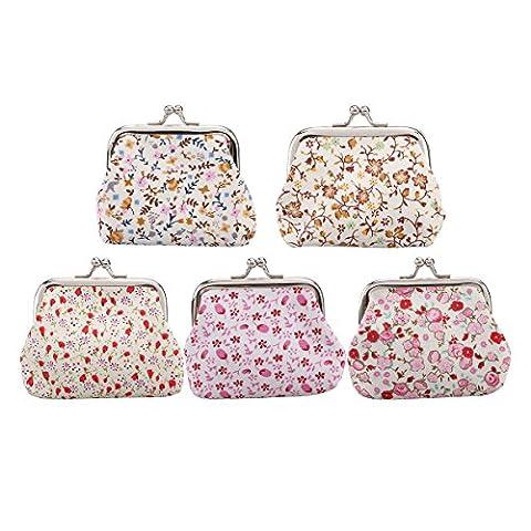 Tinksky 5pcs Blumen-Münzen-Geldbeutel-kleine Mappen-Kupplungs-Handtaschen-Karten-Halter-Schlüssel-Beutel für Frauen-Mädchen (gelegentliche Farbe)