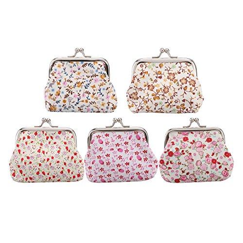 Tinksky 5pcs Blumen-Münzen-Geldbeutel-kleine Mappen-Kupplungs-Handtaschen-Karten-Halter-Schlüssel-Beutel für Frauen-Mädchen (gelegentliche Farbe) (Karten-halter-münzen-geldbeutel-beutel)