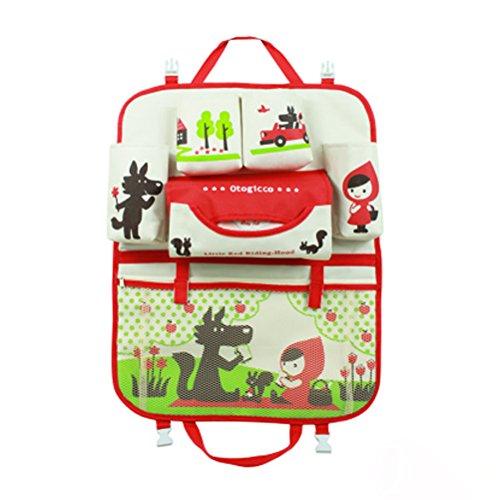 (Hoopen Auto Rücksitz Organizer für Kinder mit Dinosaurier, rot Kapuze, Bär und Hase Prints Multifunktional Aufbewahrung und Netztaschen)
