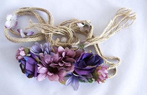 Cinturón de cuerda de flores en tonos morados. Envío GRATIS 72h