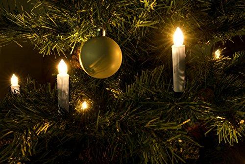Velas LED con mando a distancia y temporizador Funciona con pilas para árbol de Navidad, Árbol de universo (Blanco Cálido, con llama led y un Luz persistente, inalámbrica), blanco cálido, 30 unidades 1.50 volts