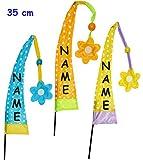 3 Stück _ KLEINE Deko - Windfahnen / Balifahnen -  Bunte Punkte - Farbmix  - incl. Name - für Balkon & Topf - mit Fahnenstange - UV-beständig & wetterfest -..