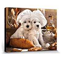 1art1® Perros - Dos Panaderos Dulces Cuadro, Lienzo Montado Sobre Bastidor (40 x 30cm)