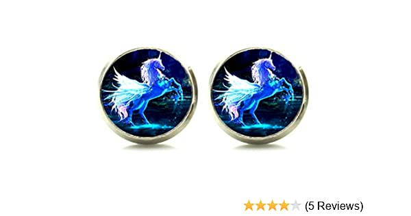 DianaL Boutique Silver Tone Unicorn Horse Earrings Stud Post Glass Cabochon Art Picture Jewelry