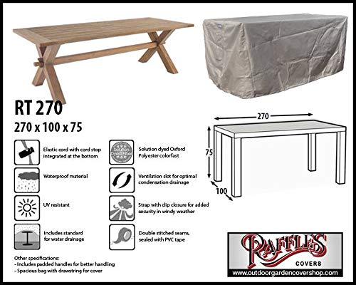 Raffles Covers RT270 Abdeckung für rechteckige Gartentisch 270 x 100 cm Schutzhülle für...