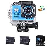 Action Cam WiFi Full HD Unterwasserkamera Digital Wasserdicht 2.0 Zoll LCD Helmkamera mit 2 Stü. Batterien, Action Kamera für Extremsport , Wassersport, Schwimmen, Surfen, Tauchen, Outdoor-Sportaktivitäten, Fahrrad, Auto DVR
