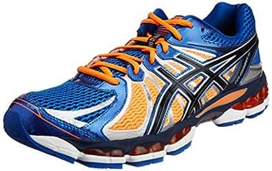 ASICS Men's Nimbus 15 White and Blue and Orange Mesh Running Shoes - 7 UK