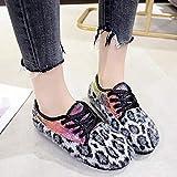 Damen Wohnungen Schuhe Warme Weiche Winterschuhe Boots Ritter Shoes Stiefel High Heels Leopard Print Wildleder Frauen Chunky Ankle Booties Kurze Retro Lederstiefel Flache Stiefeletten (Schwarz,38) Test
