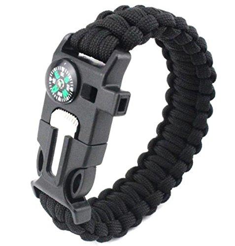 Imagen de q4travel pulsera de supervivencia, 5 en 1. para cord, pedernal de arranque, silbato, brújula, herramienta negro