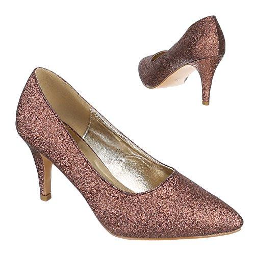 Klassische Pumps Damenschuhe Geschlossen Pfennig-/Stilettoabsatz High Heels Ital-Design Pumps Bronze