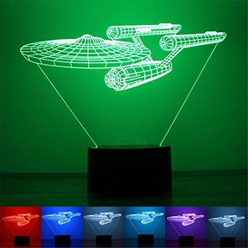 3D Raumschiff Gestalten USB Licht HARRYSTORE Einzigartig Nacht Beleuchtung Auswirkungen Zuhause Dekor LED Steuern Tabelle Lampe (Für Kamera-beleuchtung-kit Produkte)