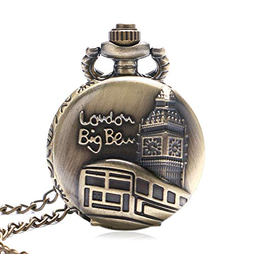 Lodon Big Ben Retro Reloj de Bolsillo de Bolsillo, Vintage Bronce Pequeño Cuarzo Reloj de Bolsillo Patrón Ben Regalo para Hombre