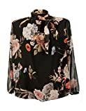Moda Italy Elegante Damen Bluse mit Blumen Muster Steh Schleifen Kragen Pump Bluse Tunika Schluppenbluse Aus Chiffon