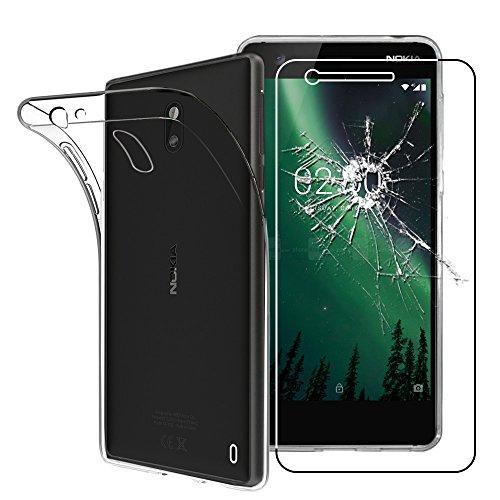 ebestStar - Cover Nokia Nokia 2 Custodia Trasparente Silicone Gel TPU Protezione Morbida e Sottile, Trasparente + Pellicola Vetro Temperato [Apparecchio: 143.5 x 71.3 x 9.3mm, 5.0'']