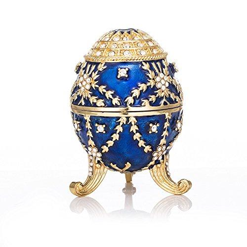 QIFU hand bemalt emailierten Fabergé Ei-Stil Dekorative Scharnier Schmuck Schmuckkästchen Einzigartiges Geschenk für Home Decor -