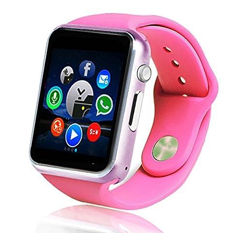 Ykd 3,9cm Bluetooth Smart Watch Montre intelligente avec écran tactile SIM et logement de carte TF, Camera, Anti-perdu Finder, podomètre, rappel Sédentaire