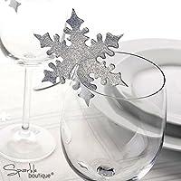 Nabati 50pcs Copo de nieve tarjetas nombre etiquetas vino copa de vidrio ideal para boda cumpleaños fiesta Navidad Festival