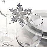 Tia-Ve weihnachtliche Party-Deko, Weinglas, Namenskarten in Rentier-Form, ca. 50 Stück, Weiß, Papier, Silver Snowflake, 50 PCS