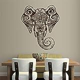 Etiqueta De La Pared Etiqueta De Vinilo Arte Decorativo Dormitorio Diseño Mural Elefante Cabeza Mandala Tribu 60x73cm (Color : 60x73cm)