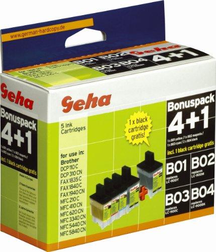 5 Geha Tintenpatronen im Multipack für Brother ersetzt Nr. LC 900 farbig + schwarz
