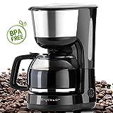 Aigostar Chocolate 30HIK - Filter Kaffeemaschine 1000 Watt mit wiederverwendbarem Filter und heißer Platte, 1,25L Kapazität, FBA frei, schwarz. Exklusives Design.