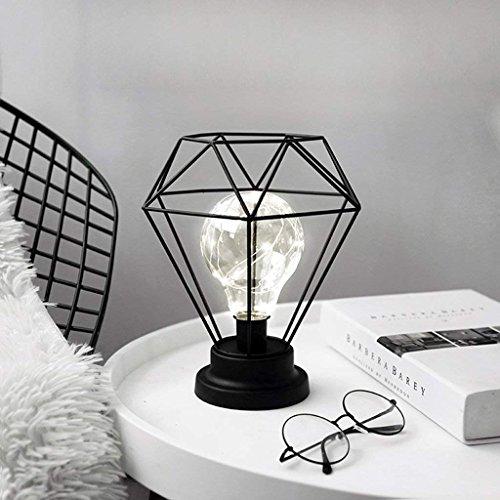 Metall Tischlampe,SUAVER Diamond Form Nachttischlampe Stehlampe,Batteriebetrieben Nordic Style Eisen Schreibtischlampe kreative Nachtlicht dekorative Beleuchtung für Schlafzimmer, Hotel (Schwarz) -