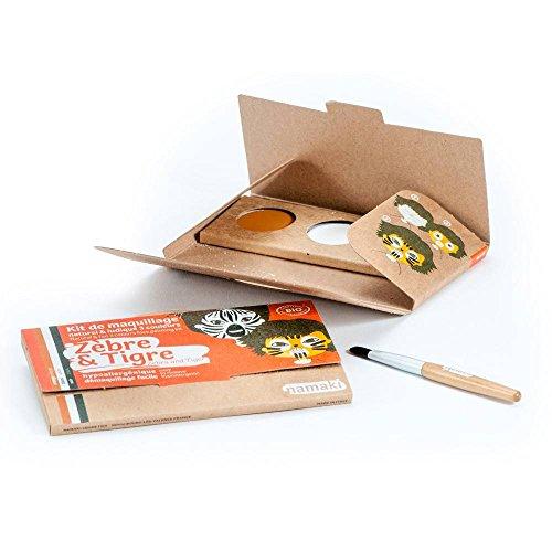 NAMAKI - Kit de maquillage pour enfants - 3 couleurs pour le visage - Zèbre et tigre - Orange, Blanc, Noir - Avec pinceau - Couleurs naturelles et hypoallergéniques - 7.5g