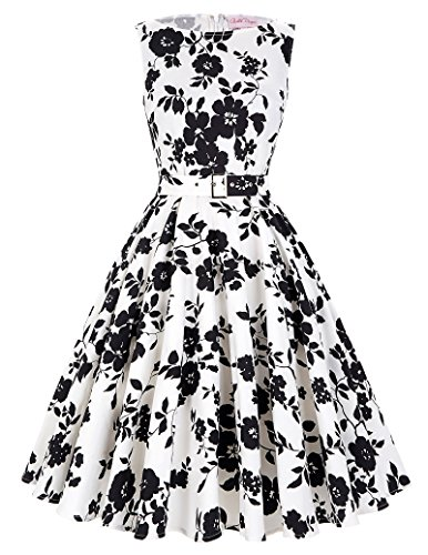 50s dress rockabilly kleid partykleid cocktailkleider knielang baumwolle rock Größe L BP002-24 (Rock A-linie Nylon)