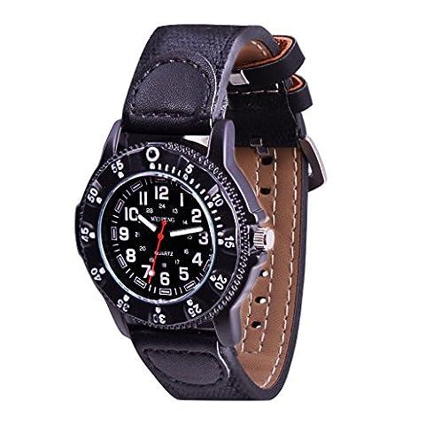 WOLFTEETH Garçon Sport Montre Bracelet Armée Militaire Etanche, Grand Cadran, Bracelet en PU pour les jeunes adolescents 3063