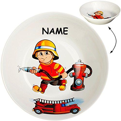 Unbekannt großer Suppenteller / Müslischale / hoher Teller -  Feuerwehr - Feuerwehrmann & Feuerwehrauto  - inkl. Name - Ø 18,5 cm / 500 ml - aus Porzellan / Keramik -..