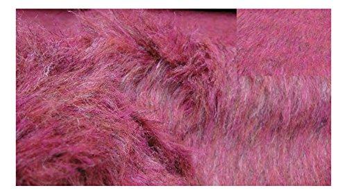 Fabrics-City Rosa/Grigio Melange ZAMBAITI-Pelo Lungo Finta Pelliccia Tessuto Pelliccia Sintetica Stoffe, 3141