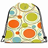 DHNKW Drawstring Backpack String Bag 14X16 Colorful 80S Mid Retro Pattern 1950S Texture 1980 Textured Century Revival 1960S Modern 1970S Vintage Series Sport Gym Sackpack Hiking Yoga Travel Beach