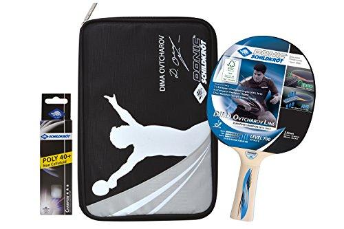 Donic-Schildkröt Tischtennis Premium-Geschenkset Ovtcharov 700, 1 Schläger, 3 Bälle 3* ITTF, wertige Schlägerhülle, hochwertiges Komplettset, 788483