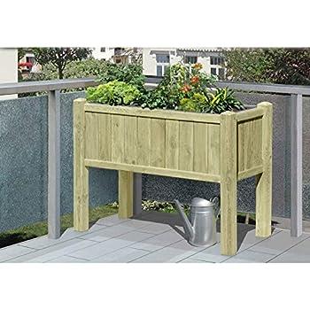 jardini re sur pieds en bois avec bacs pour jardin d 39 aromatiques 109 x 46 x 80 cm de gartenpirat. Black Bedroom Furniture Sets. Home Design Ideas